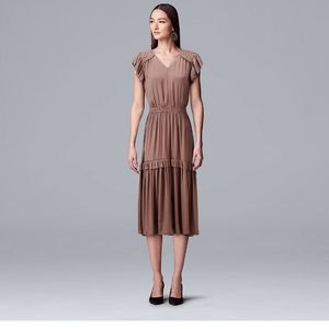 Vera Wang Ruffle Dress Large
